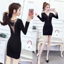 Dress Winter of 2019 Black (long sleeve), plush version, black (short sleeve) S,M,L,XL,XXL,XXXL Short skirt singleton  Long sleeves commute V-neck middle-waisted Solid color Socket One pace skirt routine Others 35-39 years old Type X Other Korean version Backless, stitching, mesh, zipper, lace other
