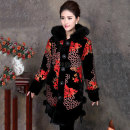 Middle aged and old women's wear Autumn of 2018 XL XXL XXXL 4XL fashion Cotton easy singleton  Broken flowers 40-49 years old Cardigan moderate Hood Medium length routine Kyulis Button silk Mulberry silk 100% 96% and above Single breasted Medium length