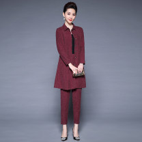 Middle aged and old women's wear Autumn of 2018 Grey red black L XL XXL XXXL 4XL ethnic style suit easy Two piece set Solid color Cardigan moderate Polo collar Medium length routine GLR901 Kyulis pocket polyester Polyester 100% 96% and above Pure e-commerce (online only) Single breasted