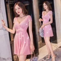 Dress Spring 2021 Pink, black, red S 80-96, m 96-110, l 108-120, XL 120-134, 2XL 132-142, 3XL 142-160, 4XL 155-175 Short skirt singleton  Short sleeve routine Irilo Bright silk