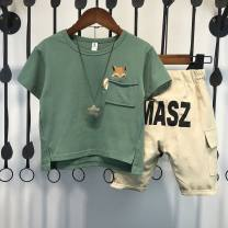 suit Other / other Green top + Khaki Shorts suit, red top + Khaki Shorts suit 90cm,100cm,110cm,120cm,130cm,140cm male summer Korean version Short sleeve + pants 2 pieces routine There are models in the real shooting Socket nothing Cartoon animation cotton children Expression of love Class B