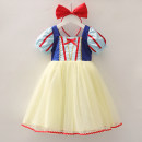 Dress Snow white dress with bows and Hairbands female Other / other 90cm,100cm,110cm,120cm,130cm,140cm Cotton 100% summer princess Short sleeve Cartoon animation cotton A-line skirt 2 years old, 3 years old, 4 years old, 5 years old, 6 years old, 7 years old