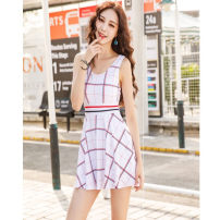 one piece  Other brands XL,XXL Triangle one piece swimsuit With chest pad without steel support other female Sleeveless Casual swimsuit stripe backless