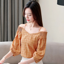 Lace / Chiffon Spring 2021 Light blue and ginger S M L XL three quarter sleeve commute Socket singleton  easy Regular One word collar lattice puff sleeve 30-34 years old Biece (clothing) BC-5053 Pleated printing Korean version Polyester 100% Pure e-commerce (online only)