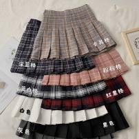 skirt Winter 2020 S,M,L,XL,2XL,3XL,4XL Black, white, gray, purple, blue, green, red, karzinger, blue white, gray fine, karzinger, belt blue, black fine, belt purple, pink, black and white, belt red, woollen black and blue, Dark Khaki, tweed khaki, red black, dark blue, coffee Short skirt Versatile
