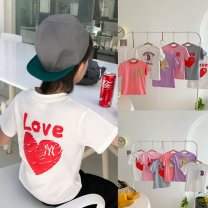 T-shirt Pink, purple, white peach, white letter, gray peach, orange pink MLB 110cm,120cm,130cm,140cm,150cm neutral summer Short sleeve Crew neck There are models in the real shooting cotton printing Class A 3, 4, 5, 6, 7, 8, 9, 10, 11, 12, 13, 14, 14 and above