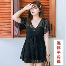 one piece  other XL,XXL,4XL,5XL,3XL B11 - Black (Siamese), A66 - Blue (Siamese) Skirt one piece Steel strap breast pad Nylon, spandex H0545 female Short sleeve Casual swimsuit Solid color