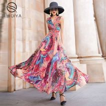 Dress Summer 2020 Blue green flowers, gouache S,M,L,XL,2XL,3XL longuette singleton  Sleeveless commute V-neck middle-waisted Decor Socket Big swing other Others 30-34 years old Type X Other Retro Pleating QY-20221-1 More than 95% Chiffon polyester fiber
