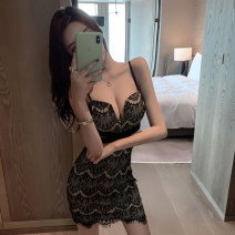 Dress Summer 2021 black S,M,L Short skirt singleton  Sleeveless commute V-neck High waist Pencil skirt camisole 18-24 years old Type H Other / other Lace, stitching 31% (inclusive) - 50% (inclusive) Lace