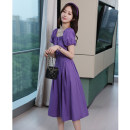 Dress Summer 2020 Blue, purple S,M,L Mid length dress singleton  Short sleeve commute square neck High waist Solid color Socket Big swing puff sleeve 25-29 years old Type A Ol style Frenulum More than 95% brocade cotton