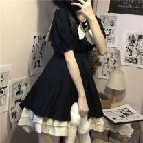 Dress Winter 2016 Picture color [priority delivery for collection stores] S,M,L,XL,2XL Short sleeve Admiral puff sleeve