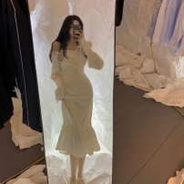 Square Dance Dress S,M,L,XL Apricot, white shirt other Long sleeves Self cultivation puff sleeve longuette