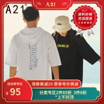 T-shirt Youth fashion Black, extra white routine 165/80A/S,170/84A/M,175/88A/L,180/92A/XL,185/96A/XXL A21 elbow sleeve Hood easy Other leisure spring R411131104 Cotton 100% youth Off shoulder sleeve tide Alphanumeric printing cotton other More than 95%