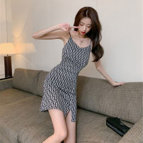Dress Summer 2021 Picture color S M L XL Short skirt singleton  Sleeveless commute V-neck High waist houndstooth  Socket A-line skirt camisole 18-24 years old Changtong Korean version Open back print More than 95% other other Other 100% Pure e-commerce (online only)