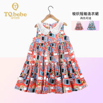 Dress Red and green flowers female TQ.bebe/ Naughty Beibei 90cm 100cm 110cm 120cm Cotton 100% summer Korean version Skirt / vest Cartoon animation cotton A-line skirt Class B Spring 2021 2 years old, 3 years old, 4 years old, 5 years old, 6 years old Chinese Mainland Guangdong Province Foshan City