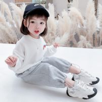 suit Other / other White, pink 80cm,90cm,100cm,110cm,120cm,130cm female spring Korean version Two piece set 2 pieces routine There are models in the real shooting Socket nothing cotton children Expression of love Class B Other 100% Chinese Mainland