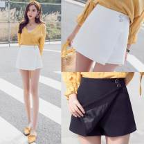 skirt Summer of 2018 L XL 2XL S M Black white black (2592) white (2592) black (2596) white (2596) Short skirt Versatile High waist A-line skirt Solid color Type A 18-24 years old Chiffon Cable zipper