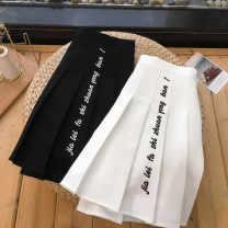 skirt Spring 2021 S,M,L,XL White, black Short skirt commute High waist Pleated skirt letter other Embroidery