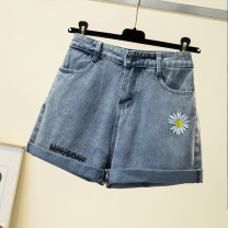 Women's large Summer 2020 Blue, black M [95-90 Jin], m [91-105 Jin], l [106-120 Jin], XL [121-135 Jin], 2XL [136-150 Jin], 3XL [151-169 Jin], 4XL [170-190 Jin], 5XL [191-210 Jin] trousers singleton  commute easy moderate Ocnltiy Embroidery shorts