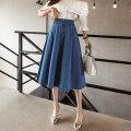 skirt Spring 2021 S,M,L,XL,2XL,3XL Dark blue, light blue longuette Versatile High waist Pleated skirt Solid color Type A 18-24 years old Denim Ocnltiy zipper