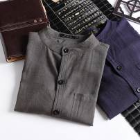 shirt Youth fashion Others 165/88A,170/92A,175/96A,M,XL,180/100A,S,L Army green, black, navy blue routine stand collar Long sleeves Extra wide daily Four seasons 2020 Solid color hemp 50% (inclusive) - 69% (inclusive)