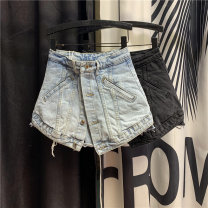 Jeans Spring 2021 Black light blue S M L XL shorts High waist Wide legged trousers routine 18-24 years old washing Cotton denim light colour 96% and above Cotton 98% polyurethane elastic fiber (spandex) 2% Pure e-commerce (online only)