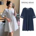 Dress Manville White royal blue M L XL XXL leisure time Short sleeve Medium length summer Solid color yf043