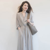 Dress Manville Light grey black M L XL XXL Europe and America Long sleeves have more cash than can be accounted for stand collar Solid color Chiffon 3.17 mwl 7