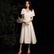 Dress Winter 2016 White Medium Length XS,S,M,L,XL,2XL longuette Sleeveless V-neck Solid color Princess Dress