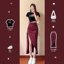 Fashion suit Summer 2021 XS S M L Black T-shirt Red Plaid split skirt black T-shirt + Red Plaid split skirt 18-25 years old Carmine DFQ - two hundred and thirty-two thousand one hundred and twenty-three 31% (inclusive) - 50% (inclusive) polyester fiber Polyester 30% other 70%