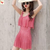 one piece  Other brands With chest pad without steel support female Short sleeve Casual swimsuit