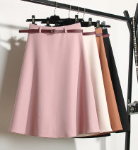 skirt Spring 2021 S,M,L,XL Suit material pink, suit material khaki, suit material apricot, suit material black Mid length dress commute High waist A-line skirt Solid color Type A 35-39 years old other Korean version