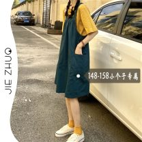 Dress Summer 2021 Green strap XS S M Mid length dress singleton  Sleeveless commute square neck High waist Solid color Socket other other straps 18-24 years old Type A Jie Zhuo Korean version More than 95% other other Other 100%