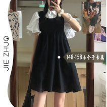 Dress Summer 2021 Top and skirt XS S M Short skirt Two piece set Short sleeve commute Crew neck Loose waist Solid color Socket A-line skirt Petal sleeve straps 18-24 years old Type A Jie Zhuo Korean version More than 95% other other Other 100%