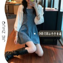 Dress Spring 2021 Denim skirt XS S M L Short skirt Fake two pieces Nine point sleeve commute High waist Solid color other A-line skirt other Others 18-24 years old Type A Jie Zhuo Korean version More than 95% other other Other 100%