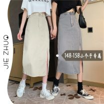 skirt Summer 2021 S M L XS Grey apricot Mid length dress commute High waist A-line skirt Solid color Type A 18-24 years old Real price 8158 # More than 95% Denim Jie Zhuo other Open line decoration Korean version Other 100%