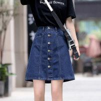 skirt Summer of 2019 XS S M L XL XXL XXXL blue Middle-skirt Versatile High waist Denim skirt Type A 71% (inclusive) - 80% (inclusive) Denim BLUE MINT cotton Pure e-commerce (online only)