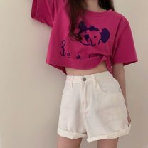 T-shirt 042 * rose regular, 041 * rose short XL,2XL,L,M Summer 2021 Short sleeve Crew neck easy have cash less than that is registered in the accounts routine Sweet cotton 51% (inclusive) - 70% (inclusive) 18-24 years old letter Other / other printing