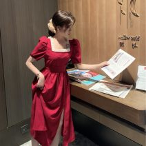 Women's large Summer 2020 Red dress, black dress S,M,L Dress singleton  commute Socket Short sleeve Solid color Korean version square neck polyester fiber puff sleeve LTB0609 Other 18-24 years old Nail bead 96% and above longuette other rivet