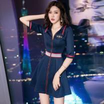 Dress Spring 2021 Navy, red, black S,M,L,XL,2XL,3XL,4XL Short skirt singleton  fold