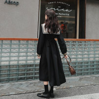 Dress Spring 2021 Black, same as Ouyang Nana_ Short sleeve XS,S,M,L Mid length dress singleton  Long sleeves commute Admiral High waist Solid color Socket other routine Others 18-24 years old Type A B2030011Z-1 More than 95% other other