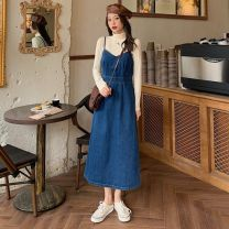 Dress Spring 2021 Denim blue S,M,L Mid length dress singleton  Sleeveless commute V-neck High waist Solid color Socket A-line skirt camisole 18-24 years old Type A Other Korean version W0217 30% and below other
