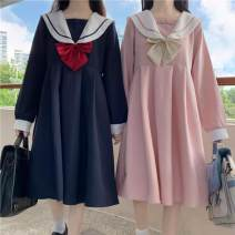 Dress Summer 2020 Navy, pink, Navy premium, pink premium, Navy long sleeve, Navy long sleeve premium, Pink Long Sleeve premium, Pink Long Sleeve premium One size, L size Mid length dress singleton  Short sleeve Sweet Admiral High waist Solid color zipper Pleated skirt routine 18-24 years old Type A