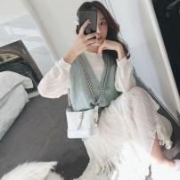 Dress Winter of 2019 White dress, blue vest, white skirt + blue vest S,M,L,XL Mid length dress Two piece set Long sleeves commute Crew neck Loose waist Solid color Socket Big swing routine Others Type A Other Korean version Ruffles, pleats, stitching, buttons, resin fixation other polyester fiber