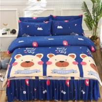 Bedding Set / four piece set / multi piece set cotton Quilting Plants and flowers 128x68 Other / other cotton 4 pieces 40 1.8 bed (quilt cover 200x230), 1.5 bed (quilt cover 180x220), 1.2 bed (quilt cover 150x200), 2.0 bed (quilt cover 200x230) Bed skirt First Grade European style 100% cotton Sanding