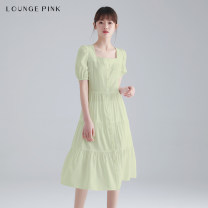 Dress Summer 2021 Milky green XS S M L longuette singleton  Short sleeve commute square neck High waist Solid color Socket A-line skirt puff sleeve Others 18-24 years old Type A Lounge Pink lady Button 1SBELGPDRSW294 30% and below other polyester fiber Viscose 85.4% polyester 14.6%