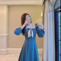 Dress Spring 2021 blue XS S M L longuette singleton  Long sleeves commute Doll Collar High waist Solid color zipper A-line skirt routine Others 18-24 years old Type A Retro More than 95% Chiffon polyester fiber Polyester 100% Pure e-commerce (online only)