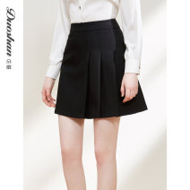 skirt Winter 2020 S M L XL Black [in stock] Short skirt commute High waist A-line skirt Solid color Type A 25-29 years old A0CH0041 71% (inclusive) - 80% (inclusive) Flower fan polyester fiber Fold splicing Pure e-commerce (online only)