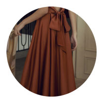 Dress Winter of 2019 Caramel-1ae S,XL,L,M longuette singleton  Sleeveless commute V-neck High waist Solid color Socket A-line skirt camisole 18-24 years old Type A Other / other Retro Bare back, bandage E78C1070 31% (inclusive) - 50% (inclusive) polyester fiber