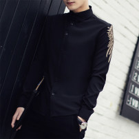 shirt Fashion City Others S,M,L,XL,2XL,3XL White, black routine square neck Long sleeves Super slim daily summer youth Exquisite Korean style 2016 Solid color washing polyester fiber Embroidery Soft Gloss  More than 95%